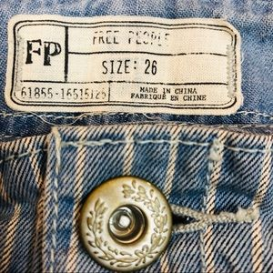 Free People cropped pinstriped button fly jeans